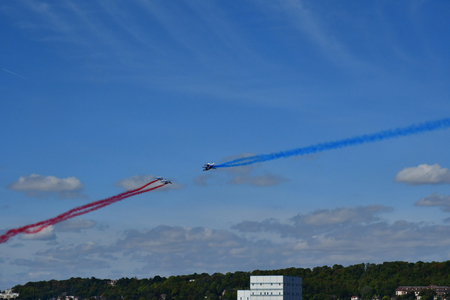 Verneuil sur Seine; France - september 8 2018 : the air show of the French Acrobatic Patrol