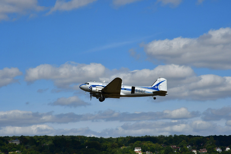 Verneuil sur Seine; France - september 8 2018 : a Douglas DC 3 of Air France at the air show Stock Photo