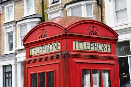 London, England - december 23 2017 : phone box in the Primrose gardens Imagens