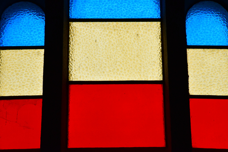 La Turballe, France - april 14 2017 : the Sainte Anne church stained glass window