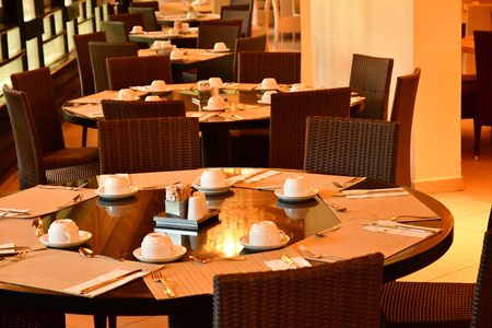 Punta Cana, Dominican Republic - may 28 2017 : restaurant in tourism hotel 스톡 콘텐츠