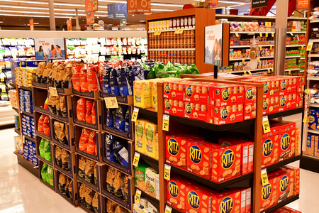 Oakhurst, USA - july 12 2016 : goods in a supermarket