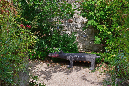 Wy dit joli village , France - july 27 2018 : the Claude Pigeard tool museum garden