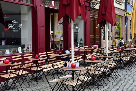 Strasbourg; France - march 3 2017 : restaurant in the picturesque city center in winter