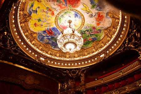 Paris; France - august 4 2018 : the ceiling painted by Marc Chagall in the Opera de Paris Stock Photo