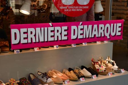 Paris; France - april 2 2018 : shoe shop in the rue du Havre