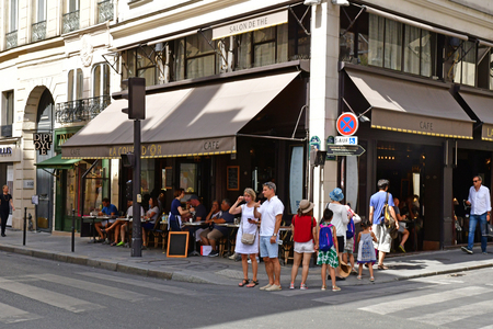 Paris; France - april 2 2018 : cafe in the rue Saint Honore