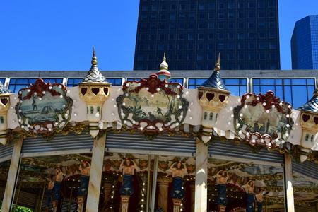 Paris La Defense; France - may 25 2017 : a merry go round in La Defense district, the biggest business distric in Europe Sajtókép