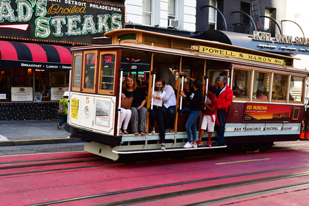 San Francisco; USA - july 13 2016 : cable car in a street in the city center