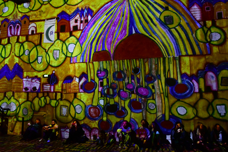 Paris; France - november 30 2018 : the Atelier des Lumieres, a place of digital art in an old factory Stockfoto - 123262534
