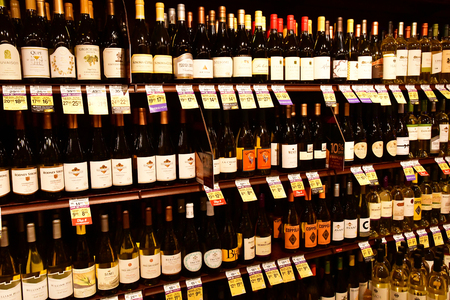 Oakhurst, USA - july 12 2016 : bottles of wine in a supermarket