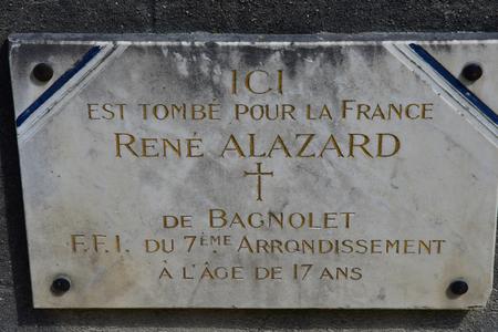 Paris; France - april 2 2017 : commemorative plaque of a man died for the Liberation of Paris