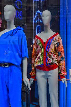 Paris; France - april 2 2017 : cloth shop in rue du Faubourg Saint Honore in the 8th arrondissement