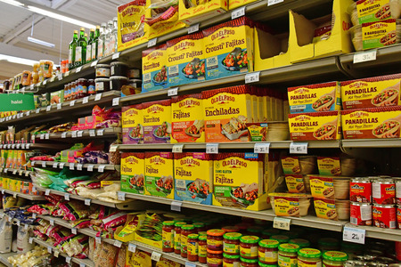 Paris, France - july 9 2018 : Mexican products in a supermarket