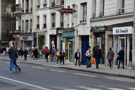 Paris; France - april 2 2017 : Saint Antoine street in Le Marais district