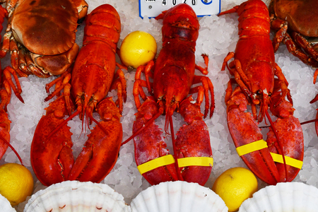 stall of crustacean in Au pied de cochon, a famous brasserie since 1947 Stok Fotoğraf