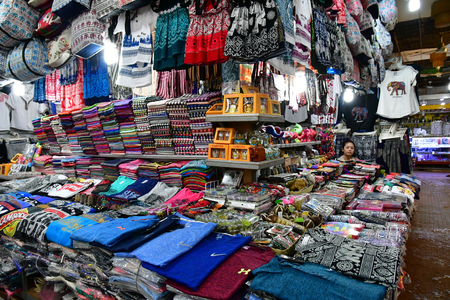 Siem Reap; Kingdom of Cambodia - august 25 2018 : souvenir at the picturesque market