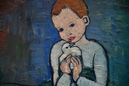 Paris; France - september 30 2018 : l enfant au pigeon painted by Picasso in 1901 in the Orsay museum