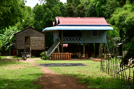 Kampong Chhnang; Kingdom of Cambodia - august 21 2018 : the picturesque village