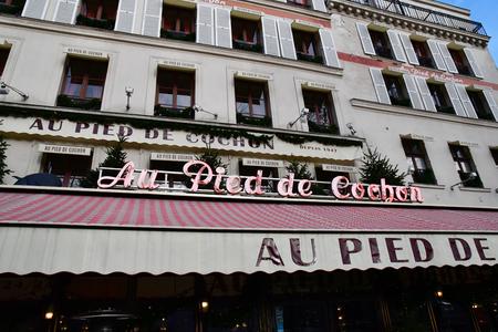 Paris; France - december 19 2017 : Au pied de cochon, a famous brasserie since 1947
