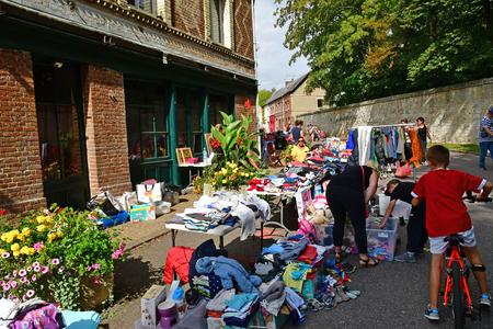 Jumieges; France - september 9 2018 : the flea market Editorial