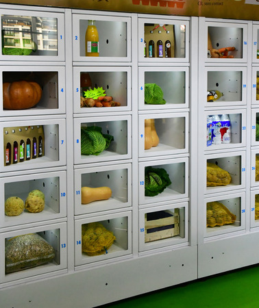 Paris; France - february 24 2019 : a food automatic distributor inthe Paris International agricultural show