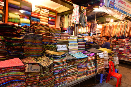 Siem Reap; Kingdom of Cambodia - august 23 2018 : the night market