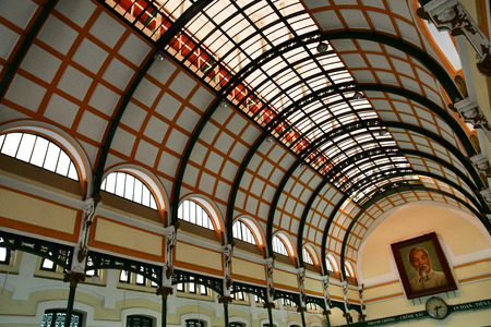 Ho Chi Minh City, Saigon, Socialist Republic of Vietnam - august 16 2018 : the post office built by the French Stock Photo - 124776919
