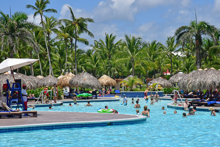 Punta Cana, Dominican Republic - june 3 2017 : aquagym in a pool