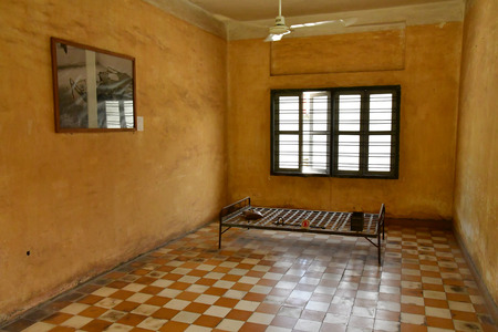 Phnom Penh; Kingdom of Cambodia - august 20 2018 : Security prison 21, Tuol Sleng genocide museum Standard-Bild - 124777329