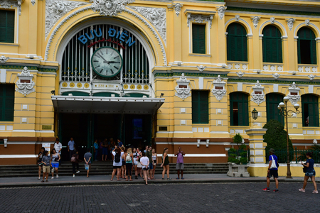 Ho Chi Minh City, Saigon, Socialist Republic of Vietnam - august 16 2018 : the post office built by the French Stock Photo - 124777391