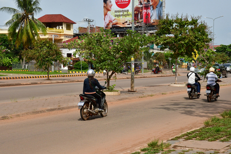 Siem Reap; Kingdom of Cambodia - august 23 2018 :  the national road 6