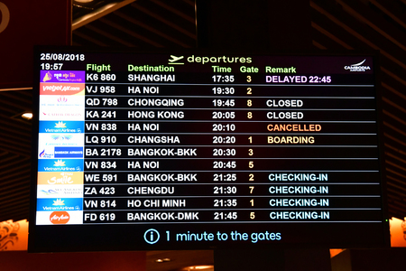 Siem Reap; Kingdom of Cambodia - august 25 2018 : departure sign in the airport 報道画像