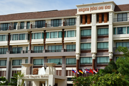 Siem Reap; Kingdom of Cambodia - august 23 2018 : hotel on the national road 6 Editöryel