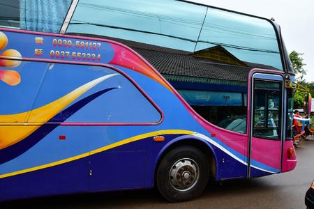 Siem Reap; Kingdom of Cambodia - august 25 2018 : bus