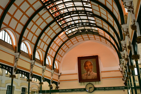 Ho Chi Minh City, Saigon, Socialist Republic of Vietnam - august 16 2018 : the post office built by the French Stock Photo - 124826477