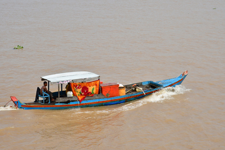 Kampong Chhnang; Kingdom of Cambodia - august 22 2018 : boat on the Tonle Sap
