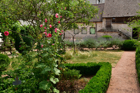 Wy dit joli village , France - july 27 2018 : the Claude Pigeard tool museum garden
