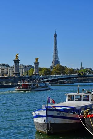 Paris; France - september 30 2018 : the Seine river near Alexandre 3 bridge