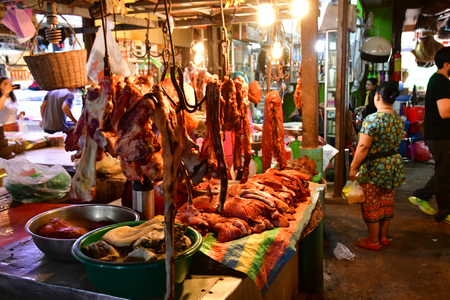 Siem Reap; Kingdom of Cambodia - august 25 2018 : food at the picturesque market