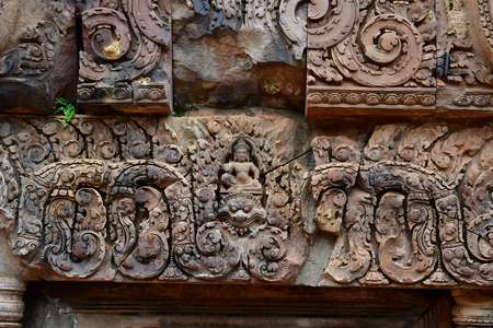 Siem Reap; Kingdom of Cambodia - august 24 2018 : the Banteay Srei temple Editorial