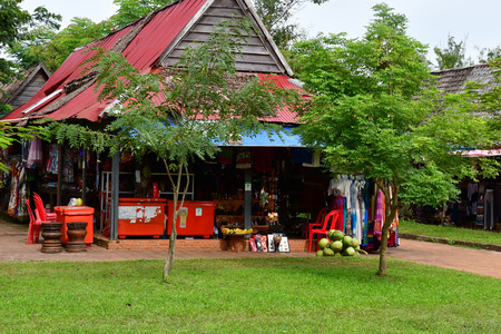 Siem Reap; Kingdom of Cambodia - august 24 2018 : souvenir shop in the Banteay Srei temple site
