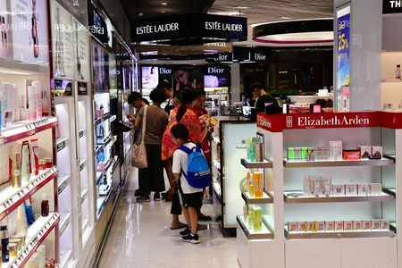 Siem Reap; Kingdom of Cambodia - august 25 2018 : duty free in the airport