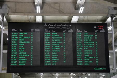 Bangkok; Thailand - august 26 2018 : departure board in the Suvarnabhumi airport
