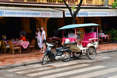 Siem Reap; Kingdom of Cambodia - august 25 2018 : the picturesque city centre