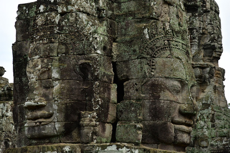 Siem Reap; Kingdom of Cambodia - august 24 2018 : the Angkor Bayon temple Editorial
