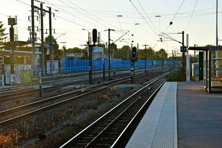 Verneuil sur Seine; France - may 17 2017 : the station in the night