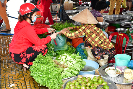 Sa Dec; Socialist Republic of Vietnam - august 18 2018 : the picturesque daily market