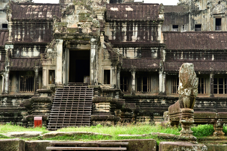 Siem Reap; Kingdom of Cambodia - august 23 2018 : the Angkor Wat temple