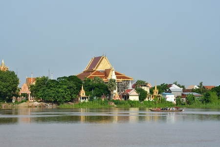 Phnom Penh; Kingdom of Cambodia - august 21 2018 : riverside view from a boat Redakční